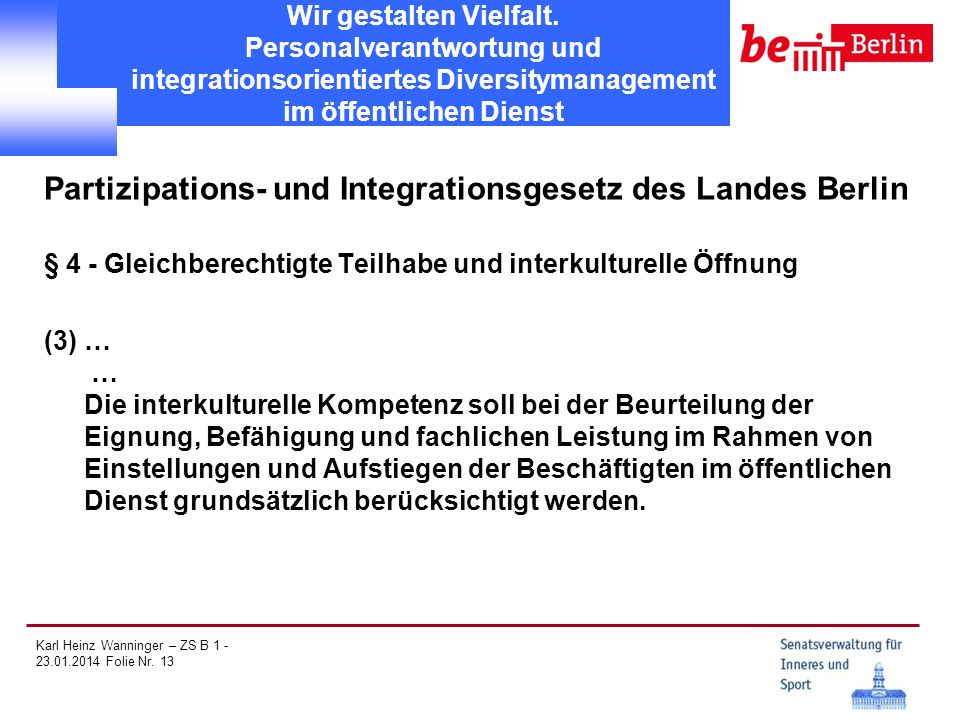 Partizipations- und Integrationsgesetz des Landes Berlin