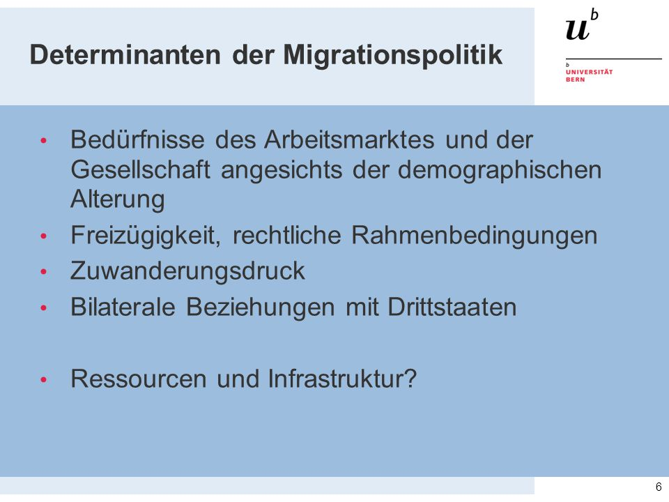 Determinanten der Migrationspolitik