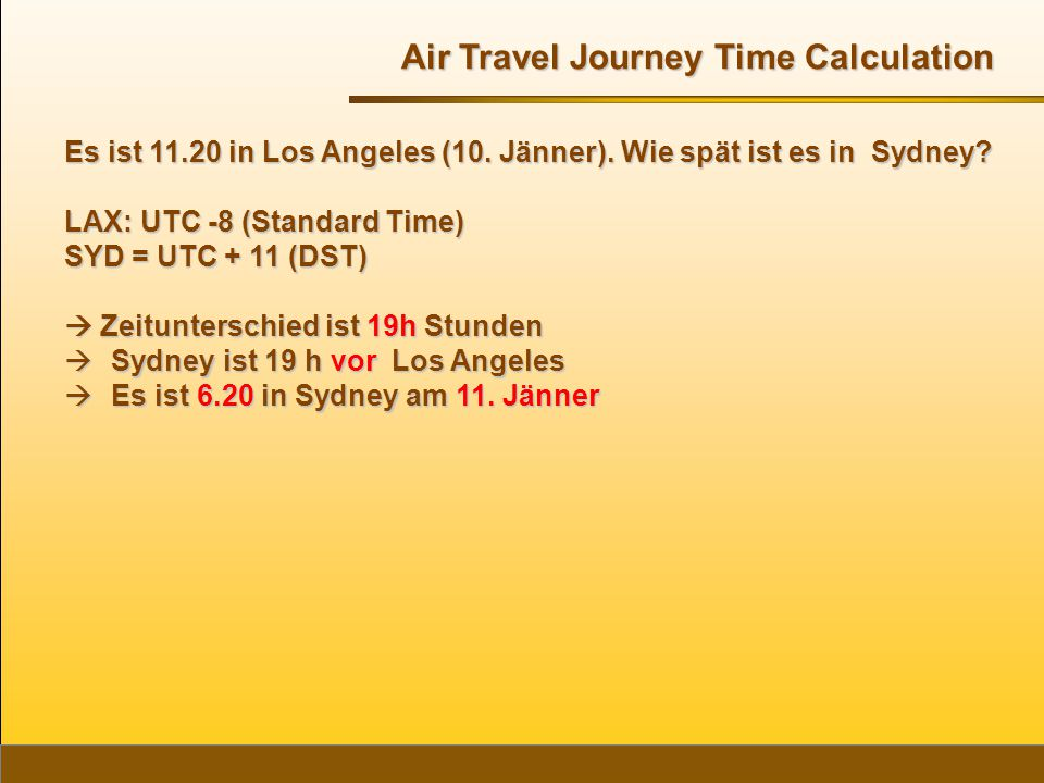 Air Travel Journey Time Calculation