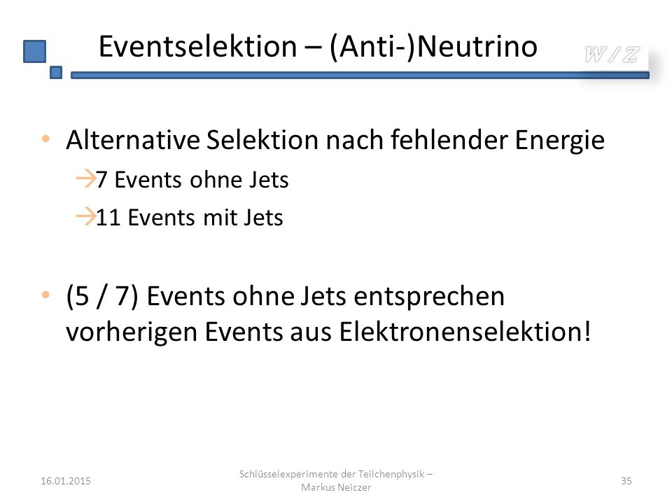 Eventselektion – (Anti-)Neutrino