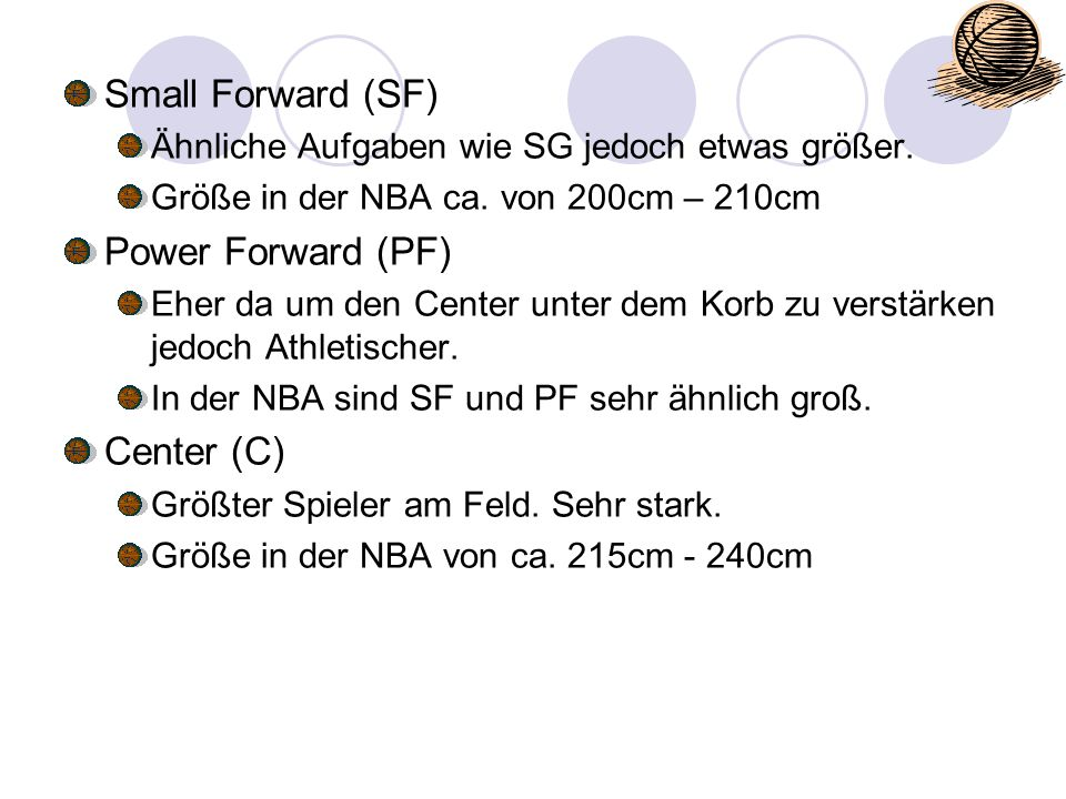 Small Forward (SF) Power Forward (PF) Center (C)