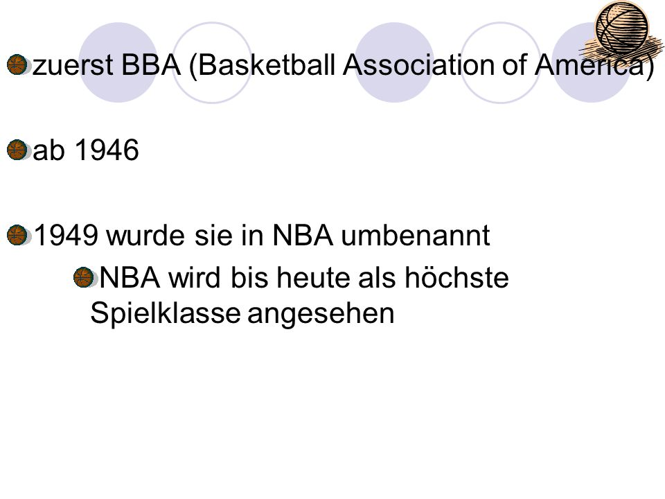 zuerst BBA (Basketball Association of America)