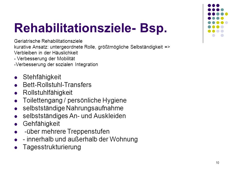 Rehabilitationsziele- Bsp.
