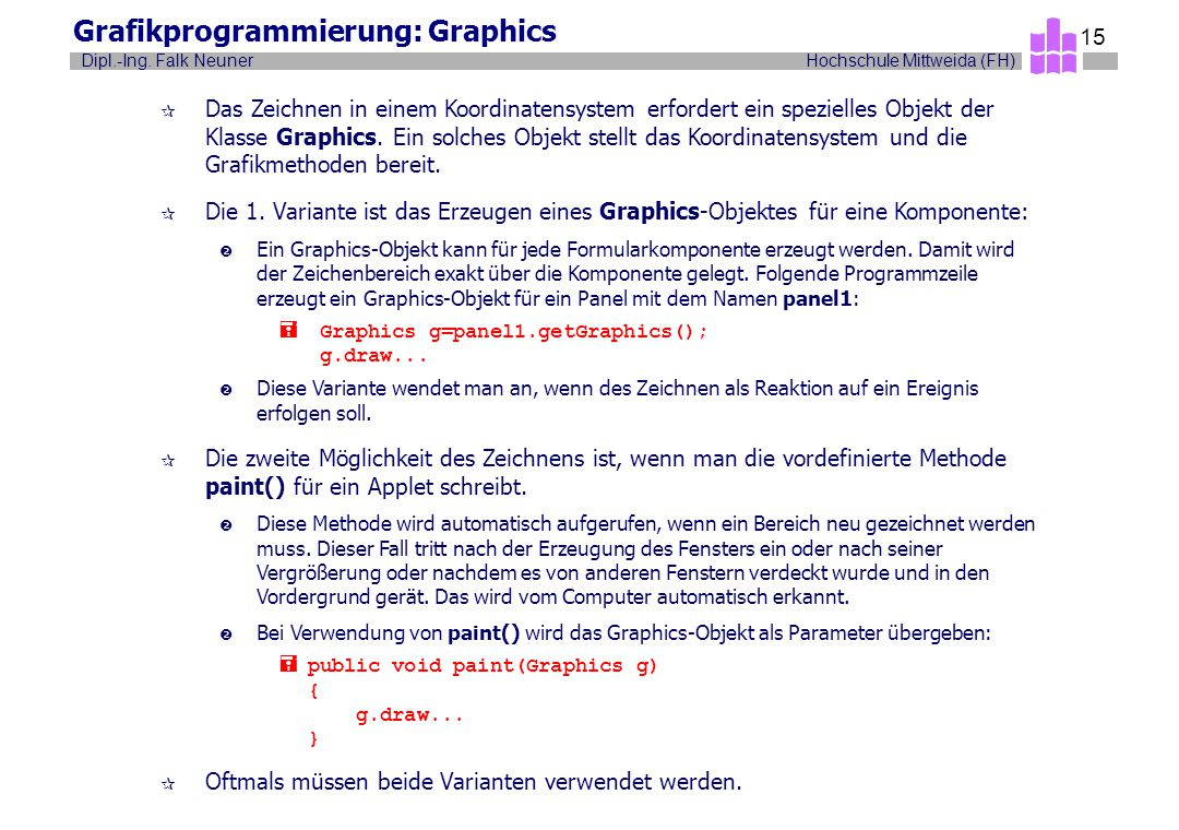 Grafikprogrammierung: Graphics