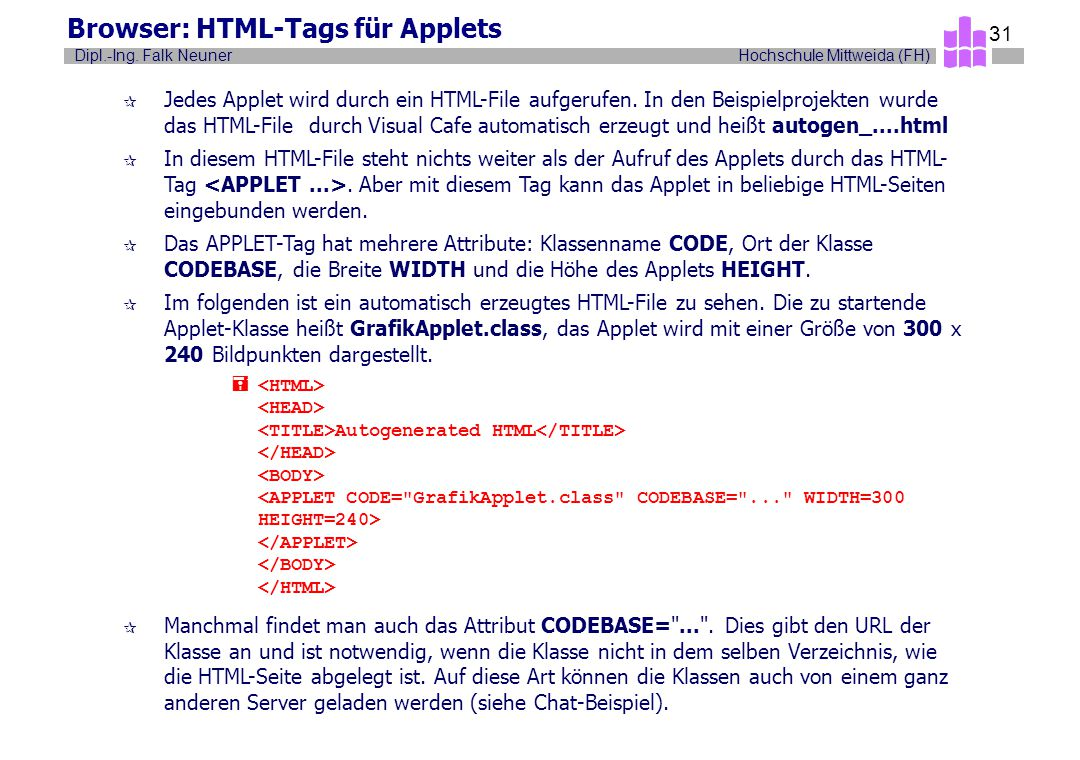 Browser: HTML-Tags für Applets
