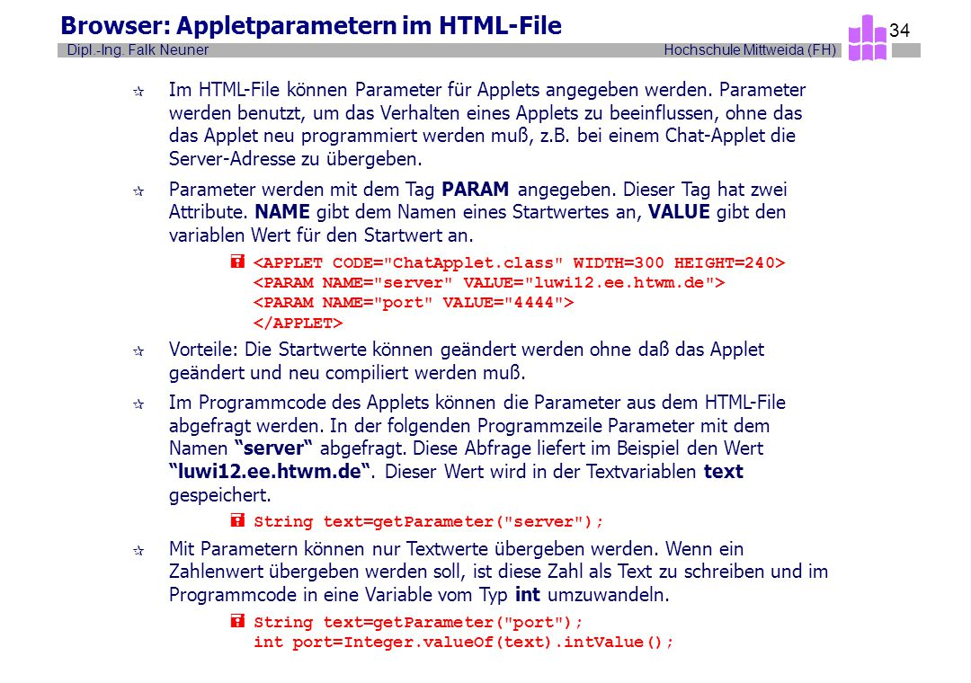Browser: Appletparametern im HTML-File