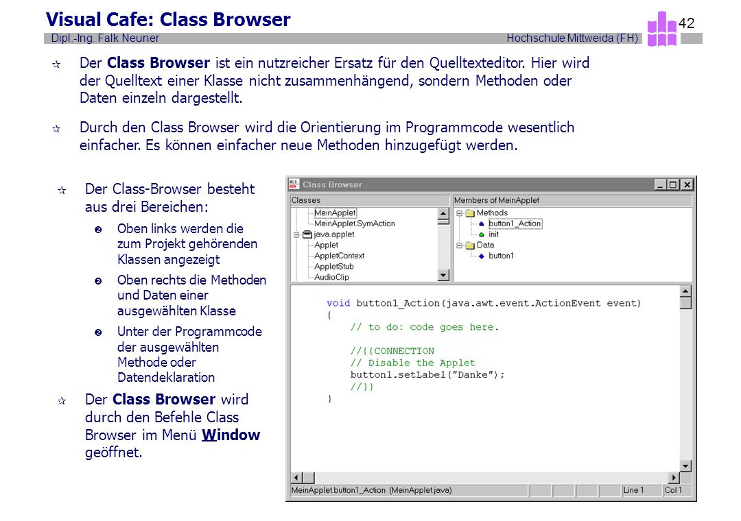 Visual Cafe: Class Browser