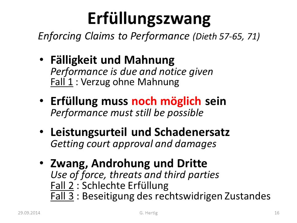 Erfüllungszwang Enforcing Claims to Performance (Dieth 57-65, 71)