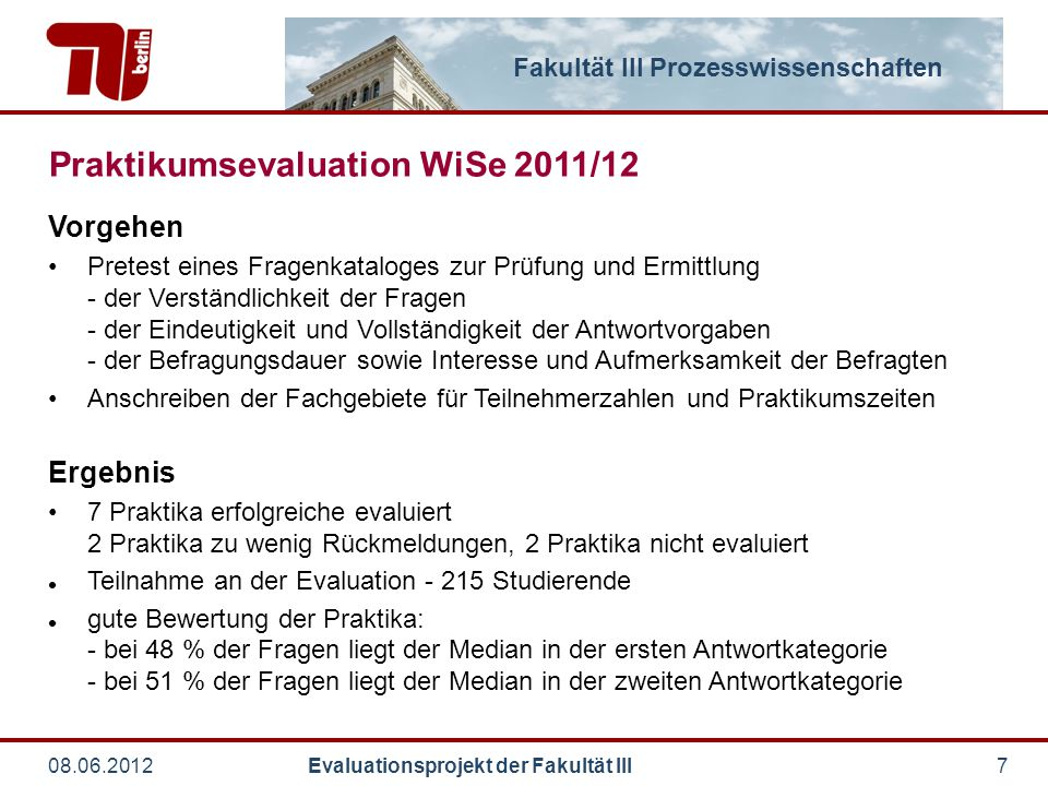Praktikumsevaluation WiSe 2011/12