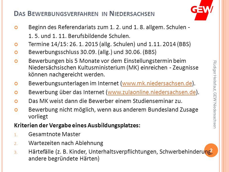 das bewerbungsverfahren in niedersachsen - Bewerbung Referendariat Niedersachsen