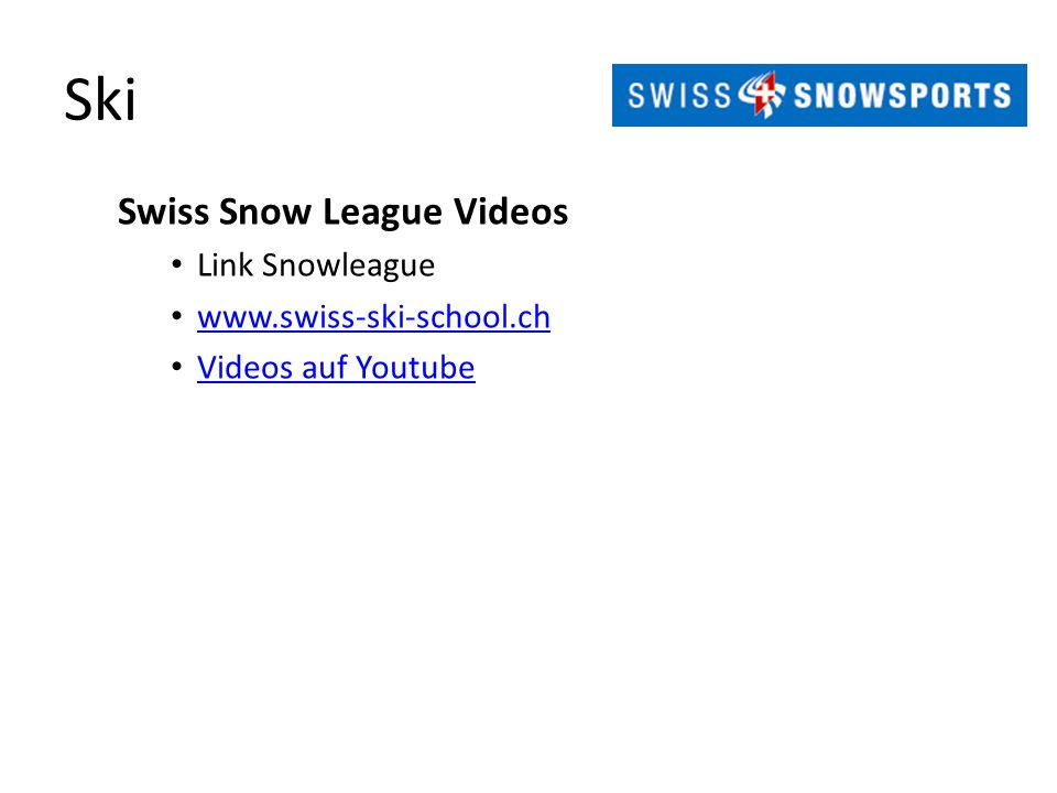 Ski Swiss Snow League Videos Link Snowleague www.swiss-ski-school.ch