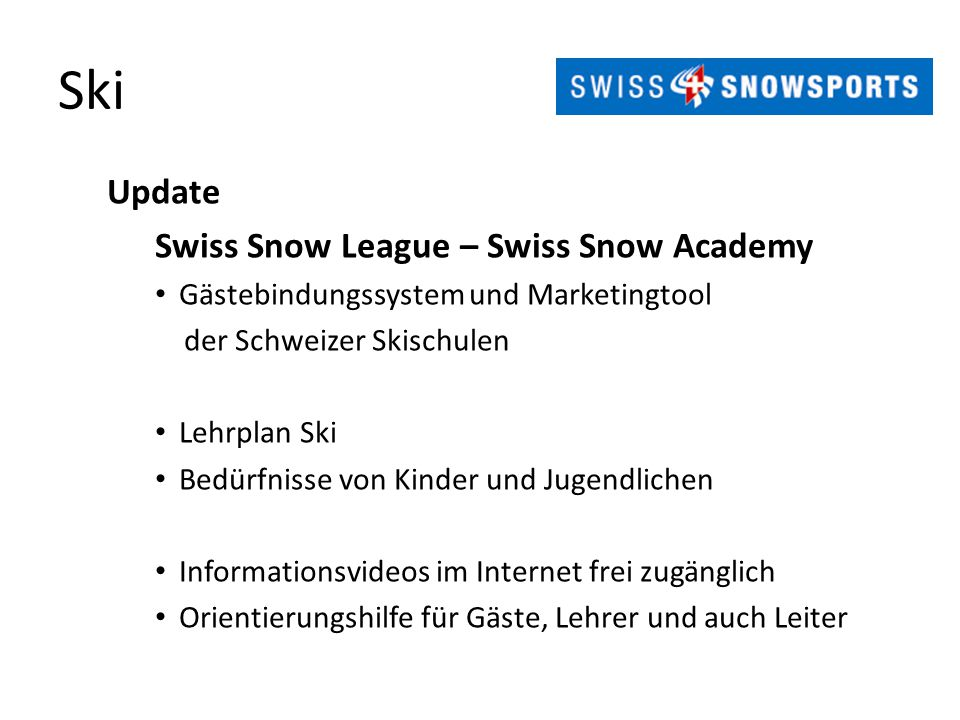 Ski Update Swiss Snow League – Swiss Snow Academy