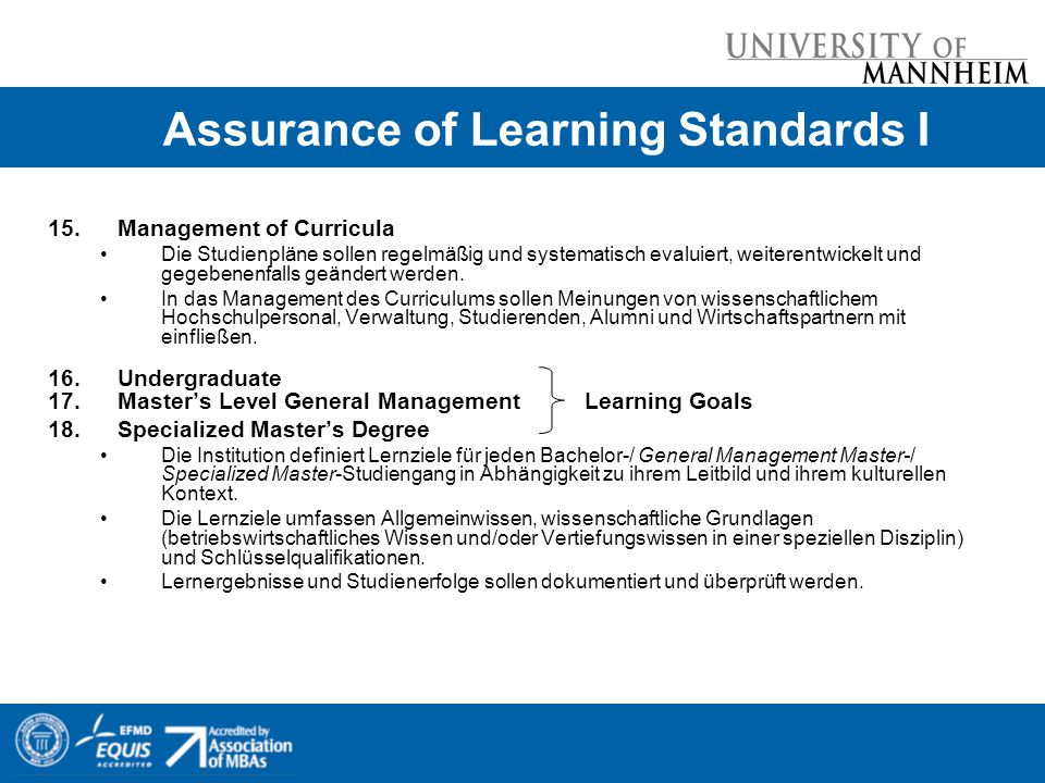 Assurance of Learning Standards I