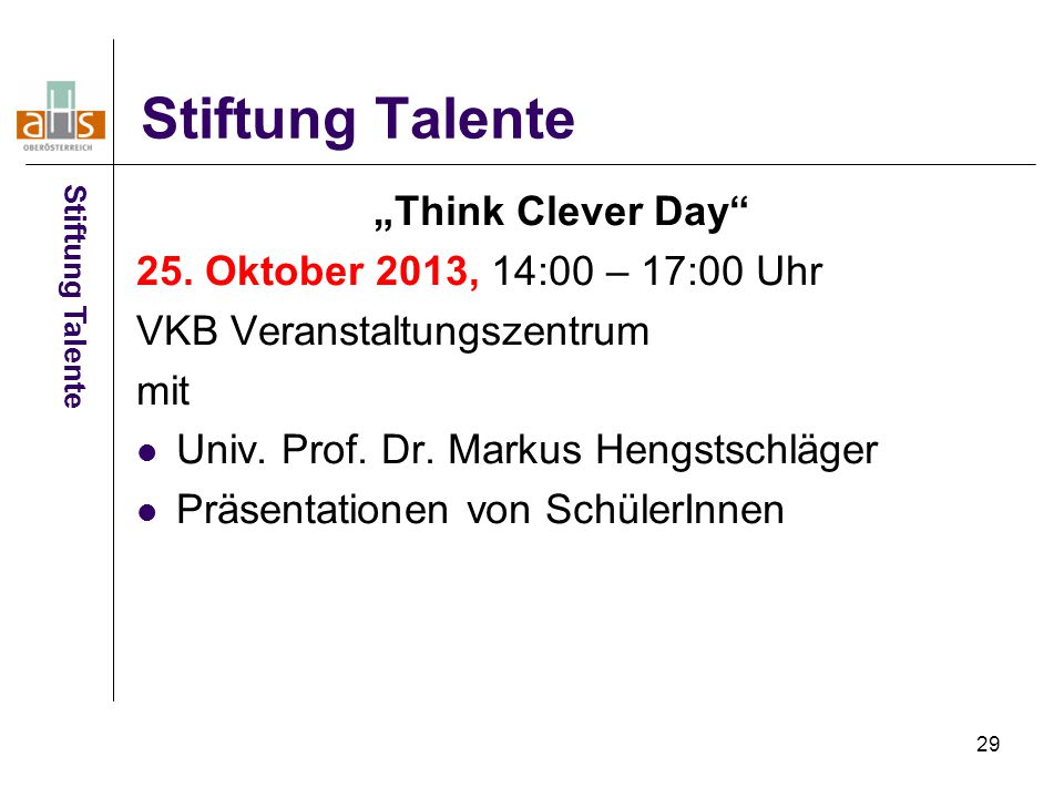 "Stiftung Talente ""Think Clever Day"
