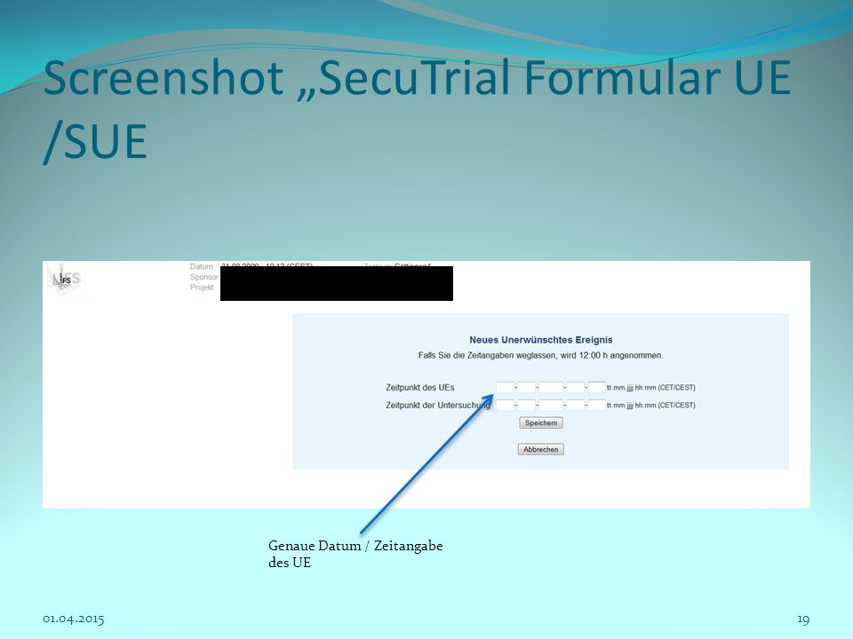 "Screenshot ""SecuTrial Formular UE /SUE"