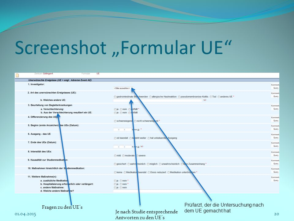 "Screenshot ""Formular UE"