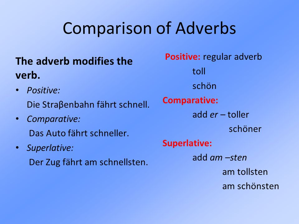 Comparison of Adverbs Positive: regular adverb