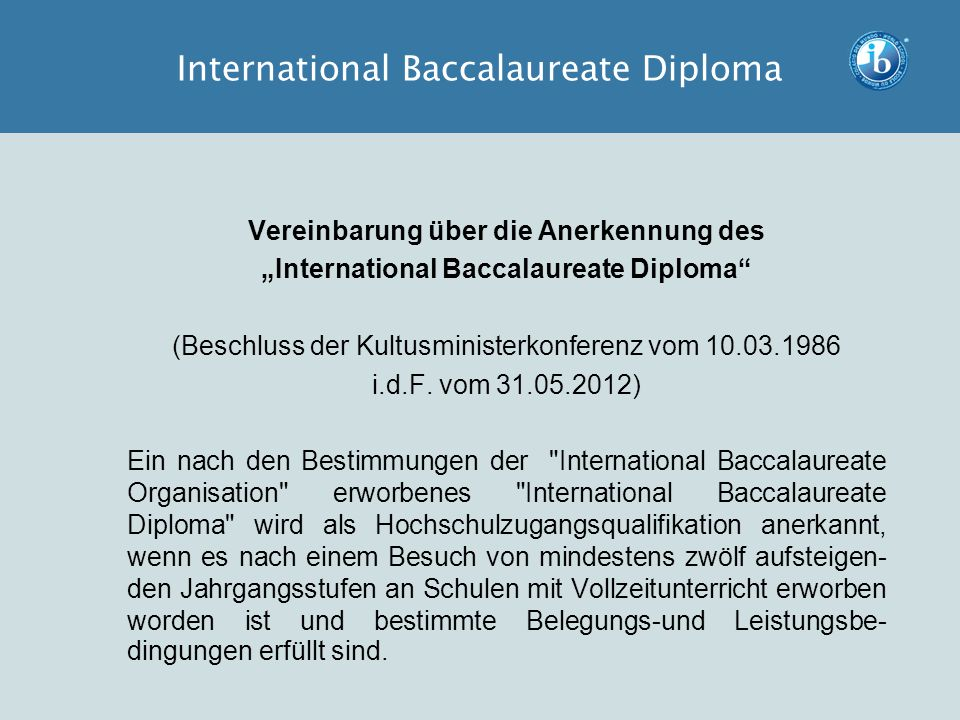 International Baccalaureate Diploma