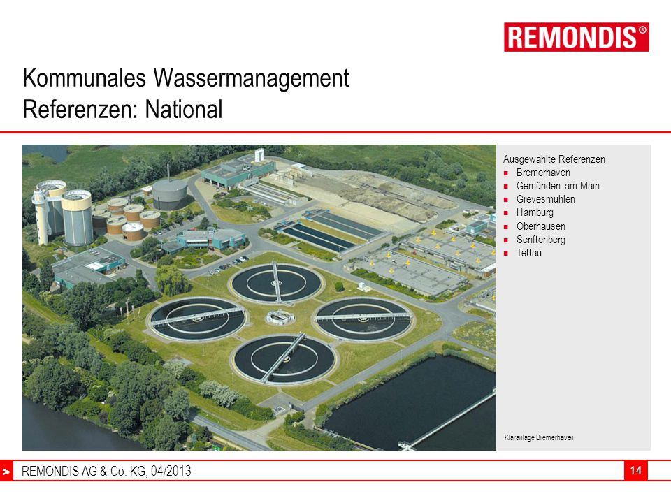 Kommunales Wassermanagement Referenzen: National