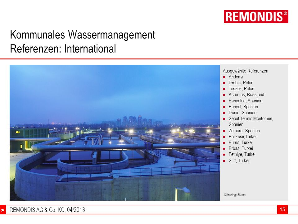 Kommunales Wassermanagement Referenzen: International