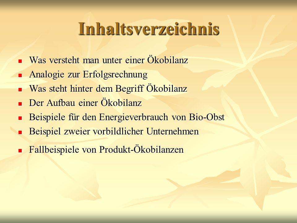 inhaltsverzeichnis was versteht man unter einer kobilanz - Okobilanz Beispiel
