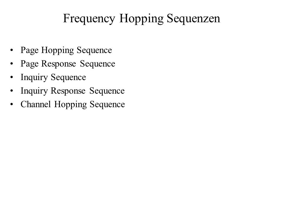 Frequency Hopping Sequenzen