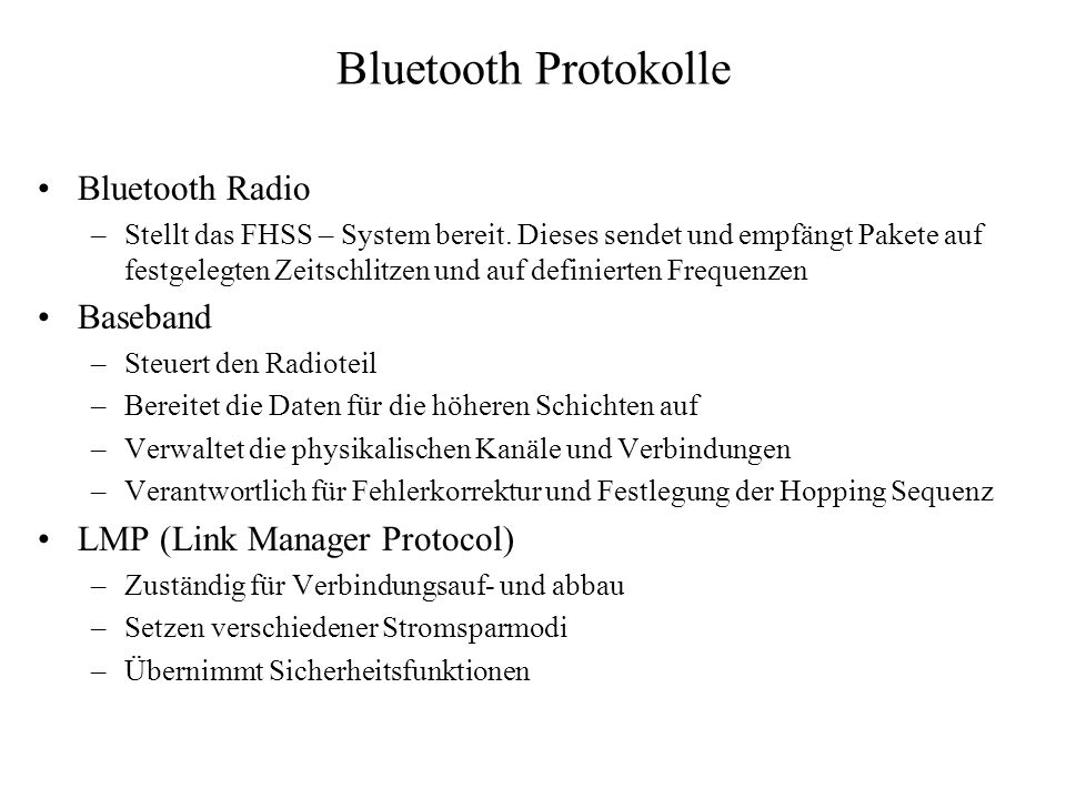 Bluetooth Protokolle Bluetooth Radio Baseband