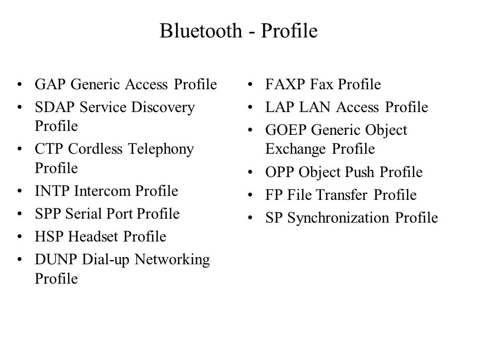 Bluetooth - Profile GAP Generic Access Profile