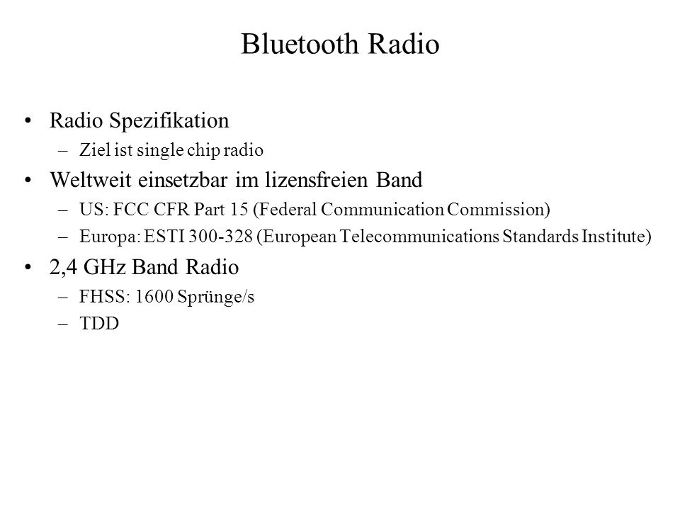 Bluetooth Radio Radio Spezifikation