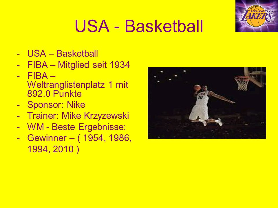 USA - Basketball USA – Basketball FIBA – Mitglied seit 1934