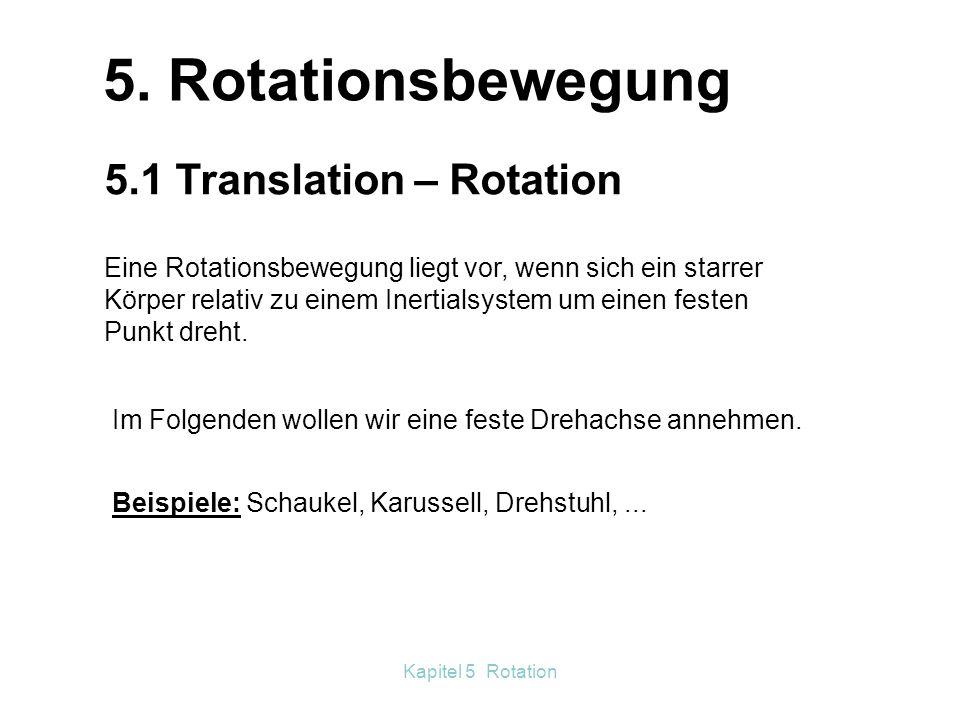 5. Rotationsbewegung 5.1 Translation - Rotation Kapitel 5 Rotation ...
