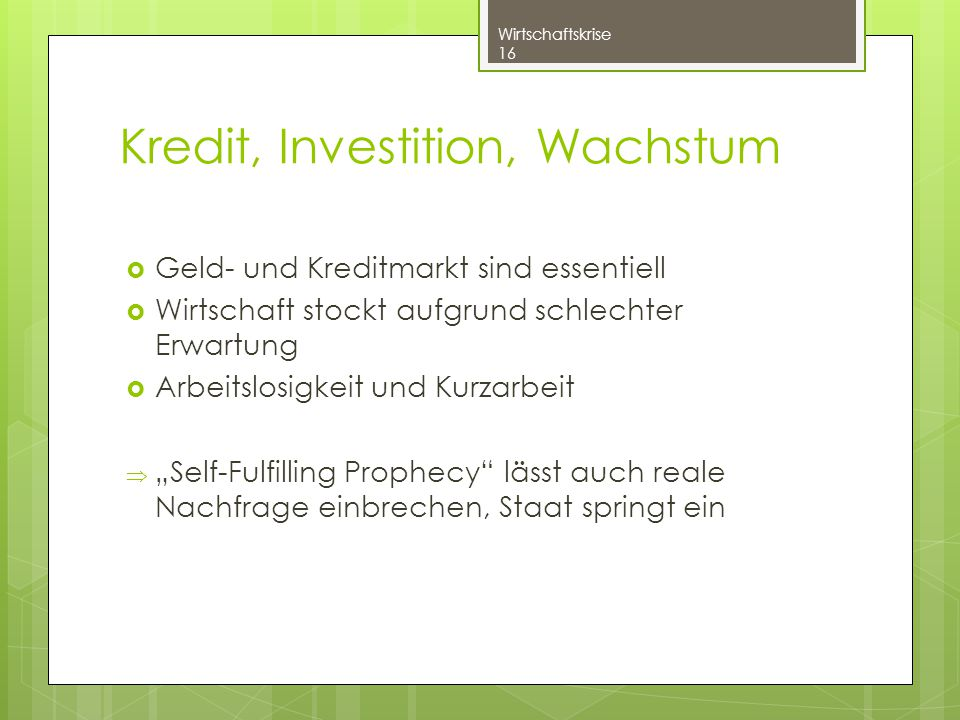 Kredit, Investition, Wachstum