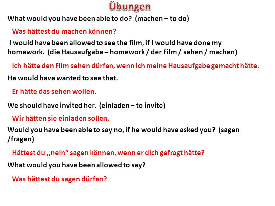 Übungen What would you have been able to do (machen – to do)