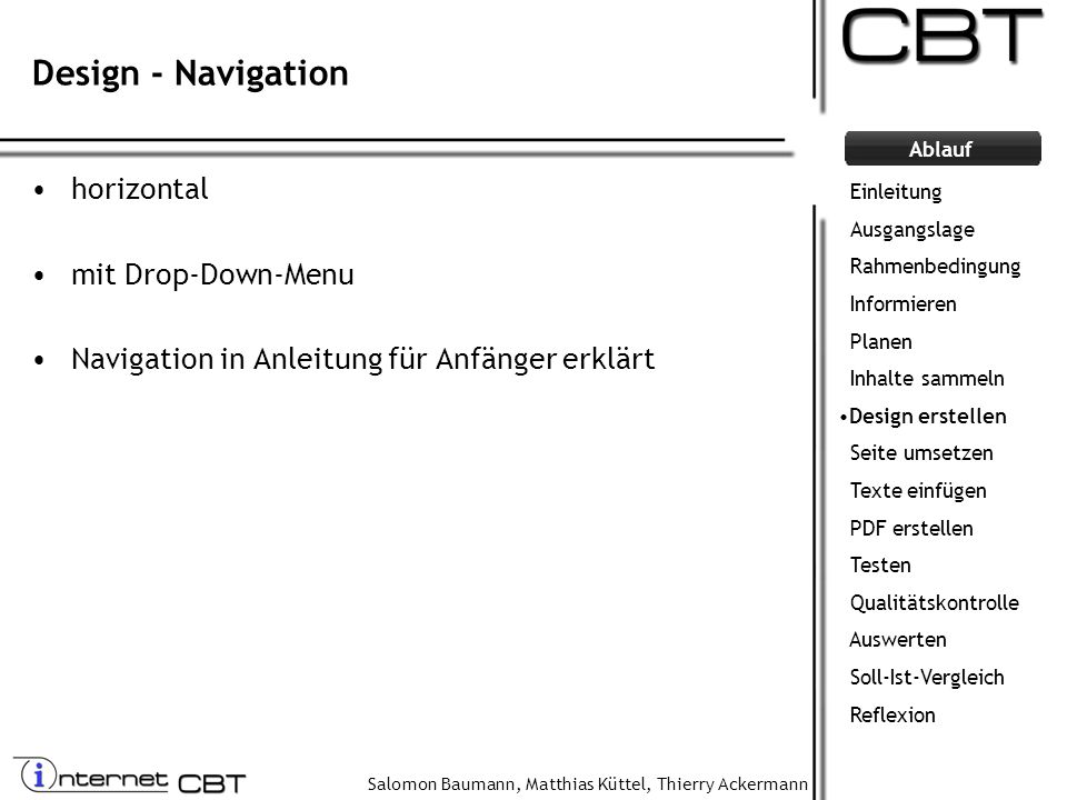 Design - Navigation horizontal mit Drop-Down-Menu