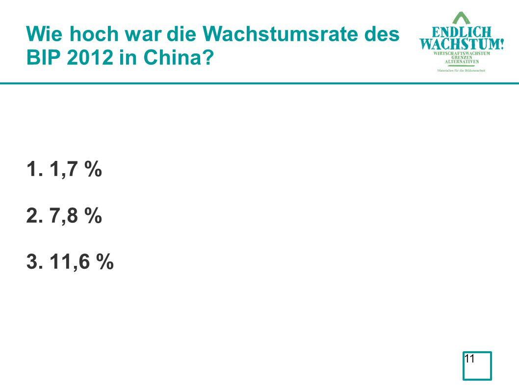 Wie hoch war die Wachstumsrate des BIP 2012 in China
