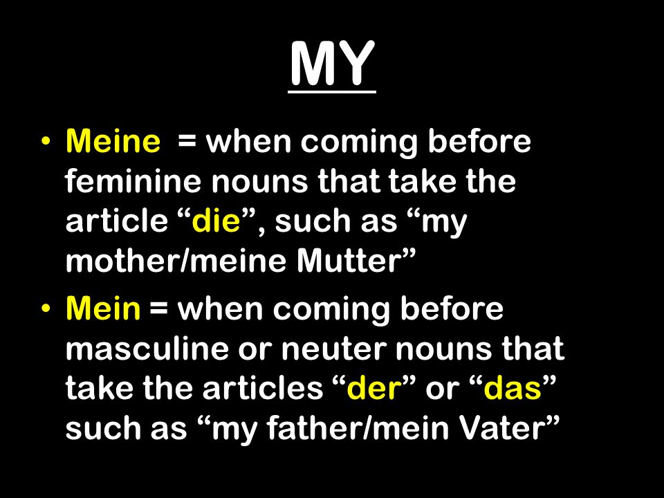 MY Meine = when coming before feminine nouns that take the article die , such as my mother/meine Mutter