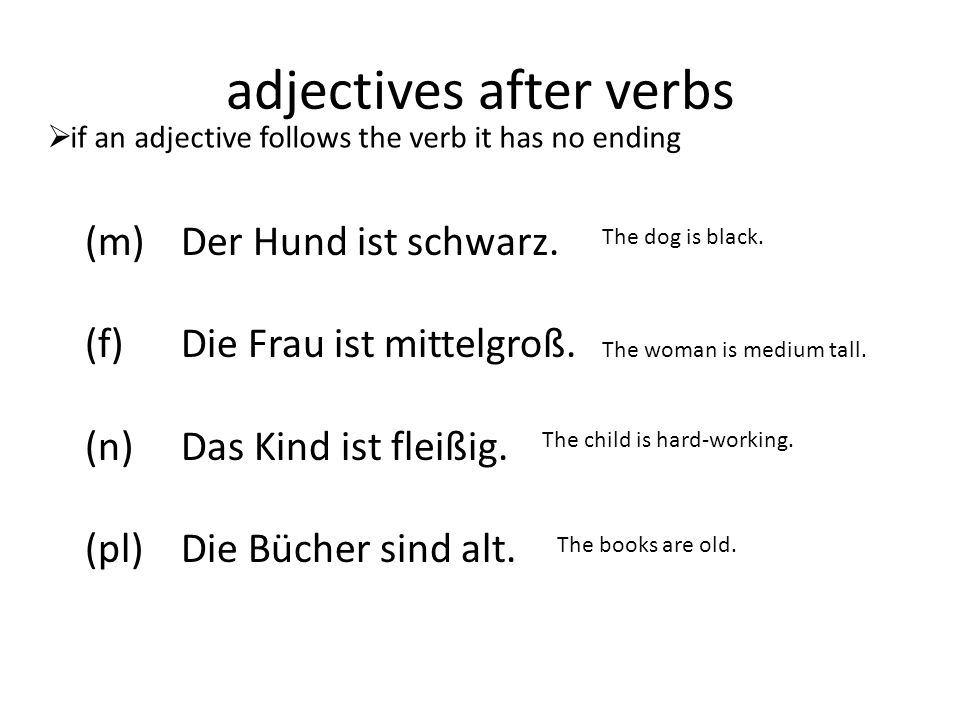 adjectives after verbs