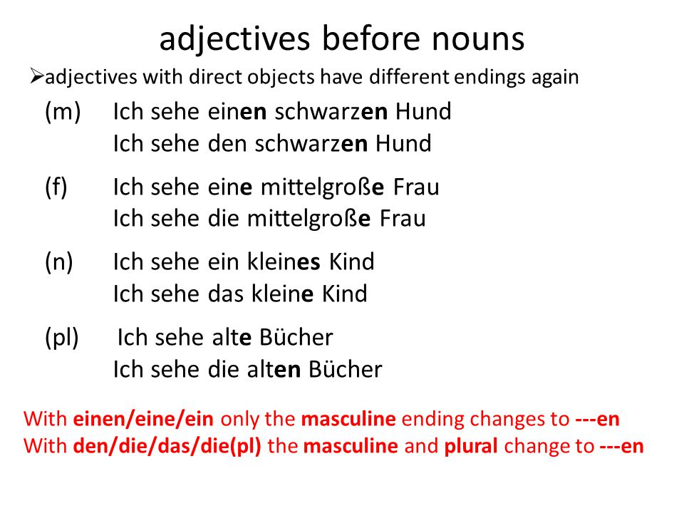 adjectives before nouns