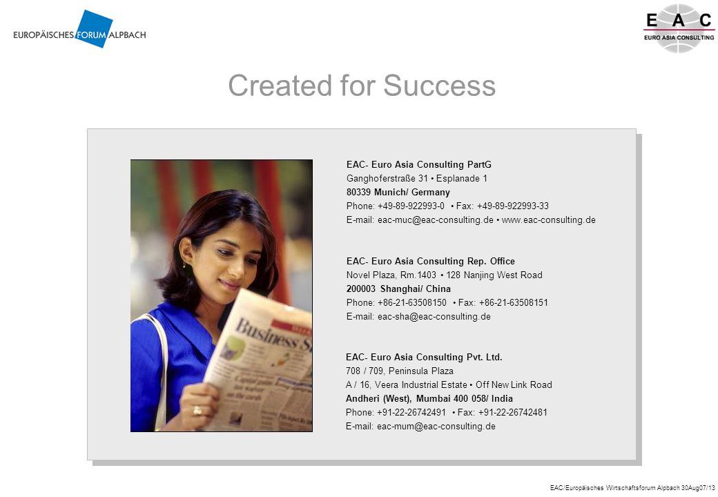 Created for Success EAC- Euro Asia Consulting PartG