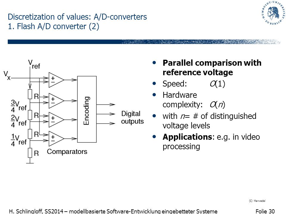 Discretization of values: A/D-converters 1. Flash A/D converter (2)
