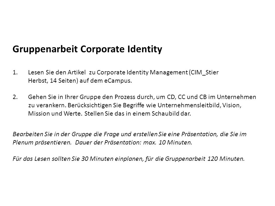 Gruppenarbeit Corporate Identity