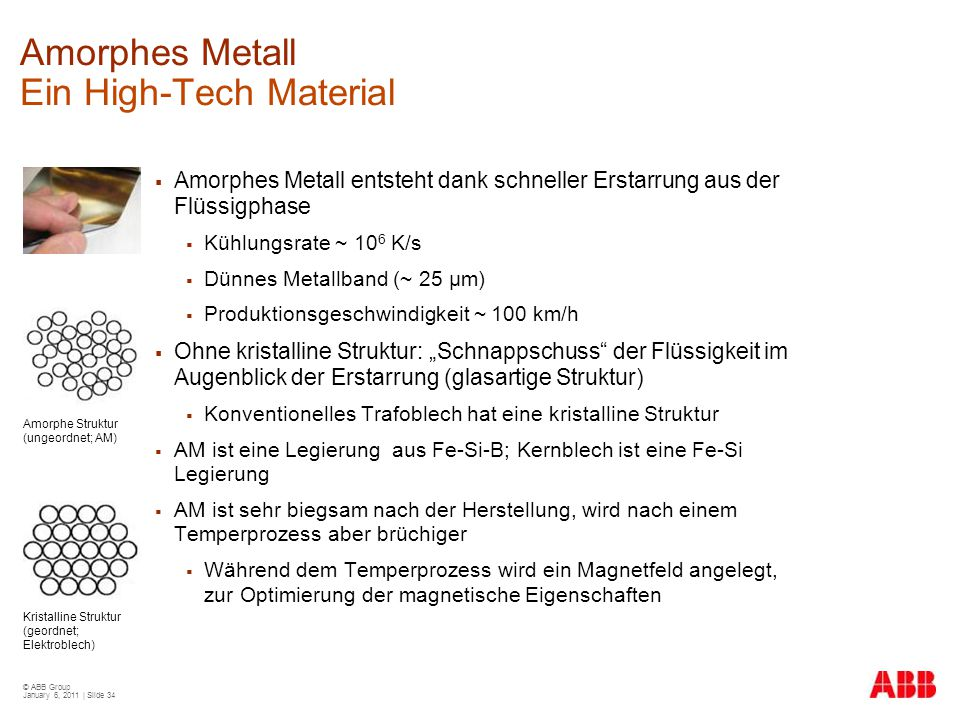 Amorphes Metall Ein High-Tech Material
