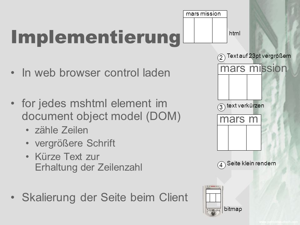 Implementierung mars mission In web browser control laden