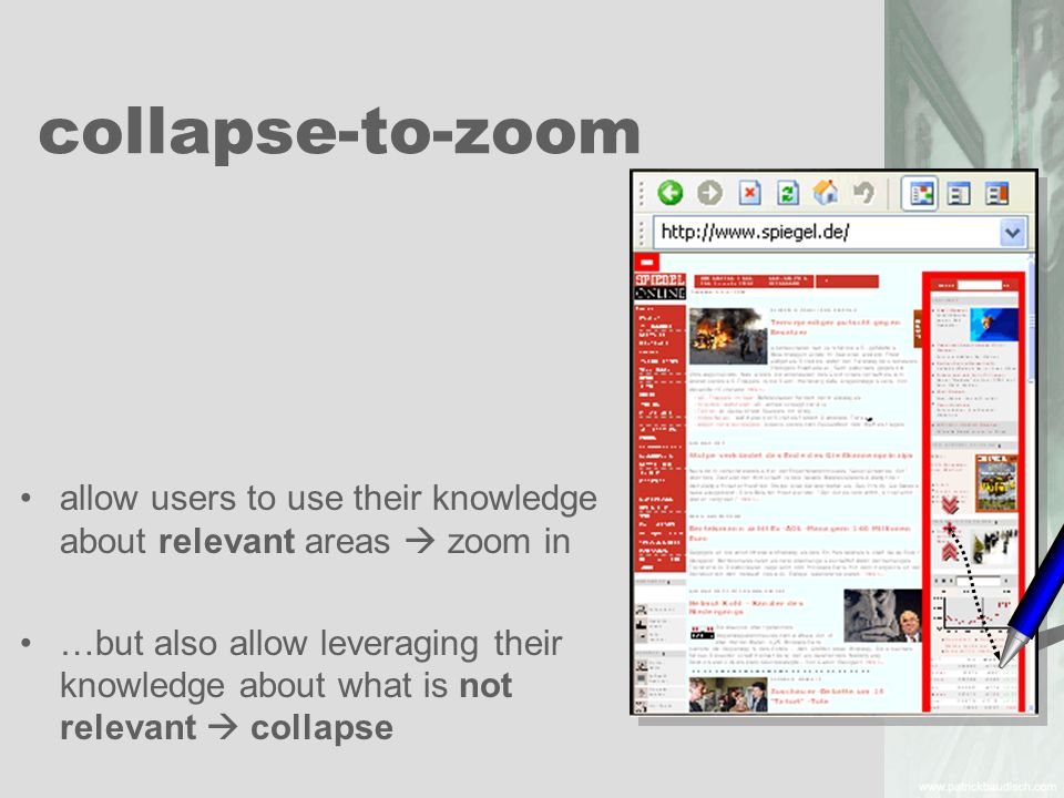 collapse-to-zoom allow users to use their knowledge about relevant areas  zoom in.