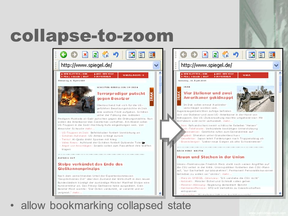 collapse-to-zoom allow bookmarking collapsed state