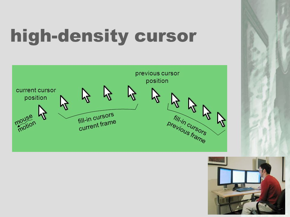 high-density cursor previous cursor position current cursor position