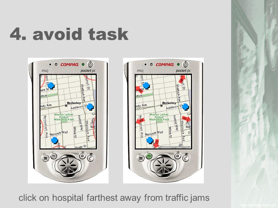 4. avoid task click on hospital farthest away from traffic jams