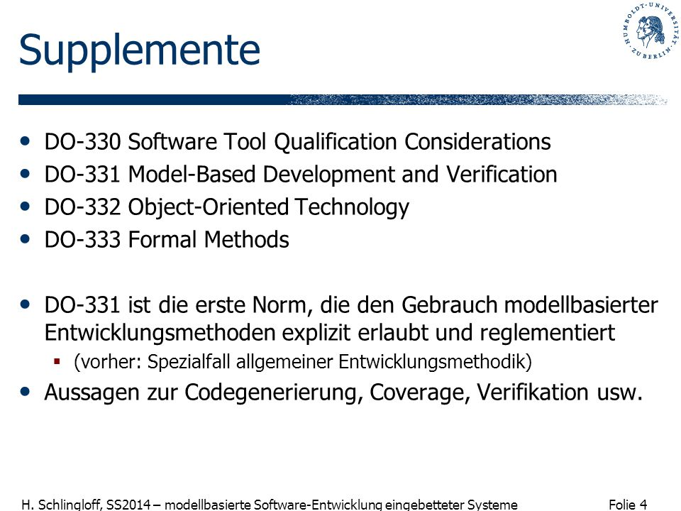 Supplemente DO-330 Software Tool Qualification Considerations