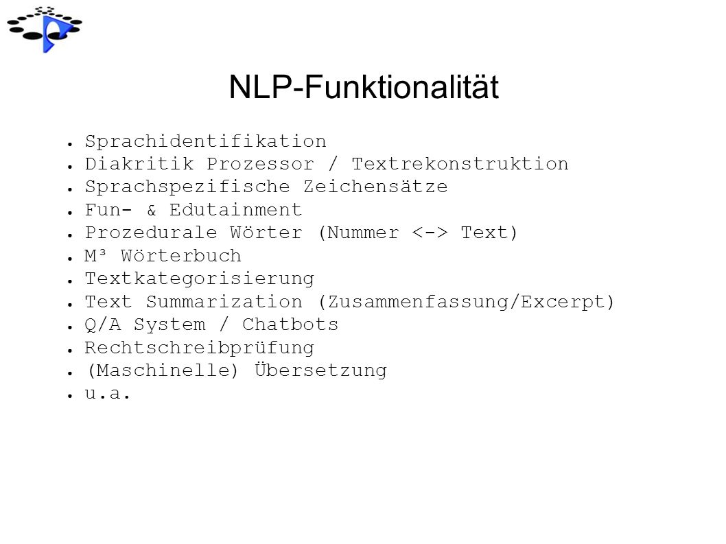 NLP-Funktionalität Sprachidentifikation