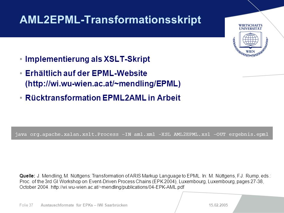 AML2EPML-Transformationsskript